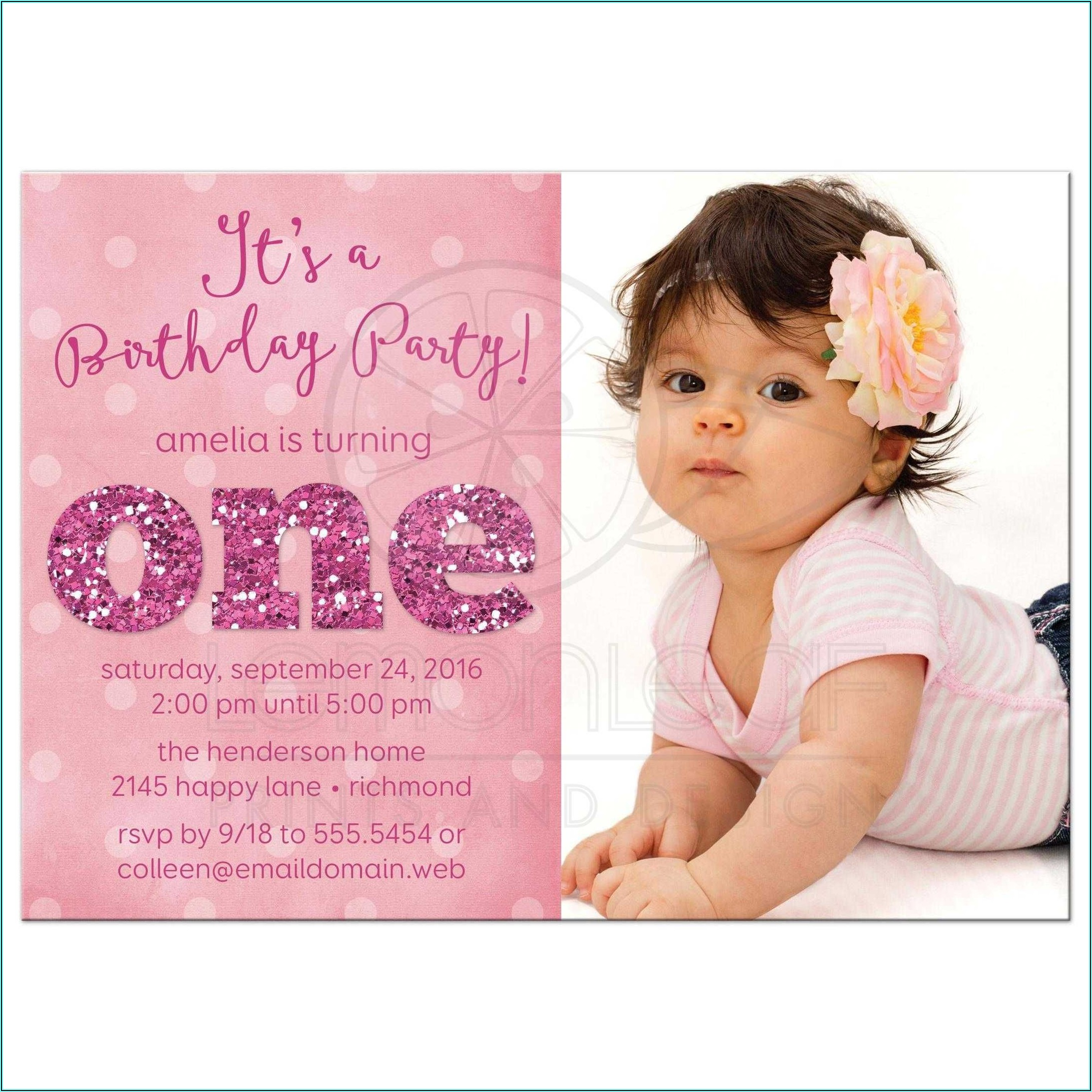 Birthday Invitation Message For Baby Girl