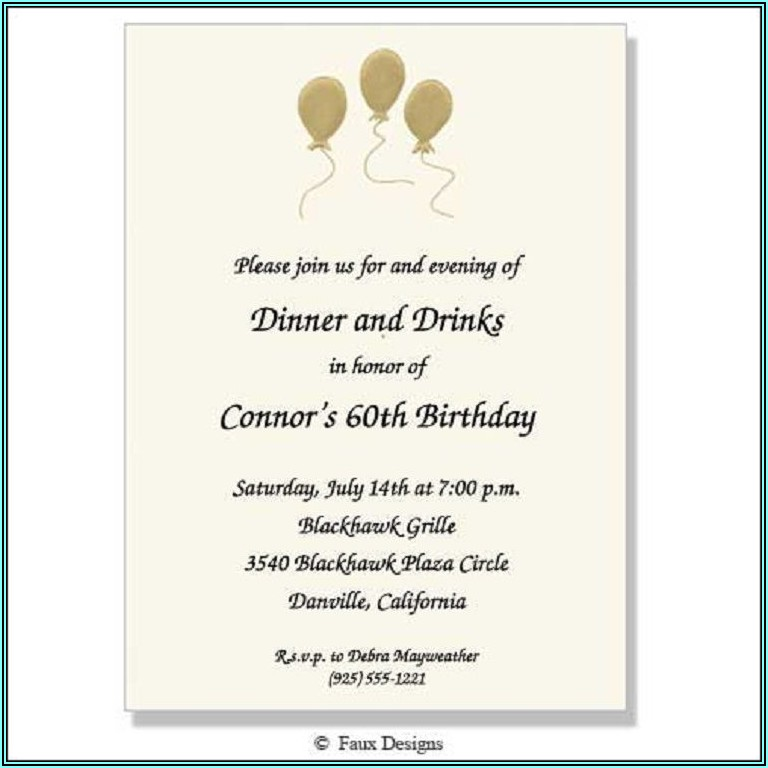 Birthday Invitation Text Sample