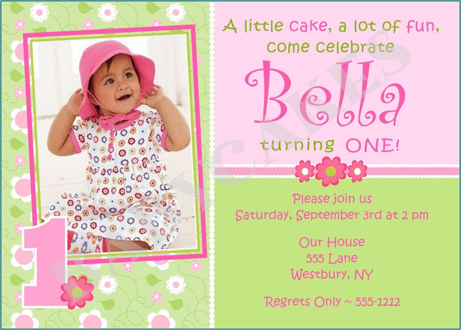 Birthday Invitation Wording For Baby Girl