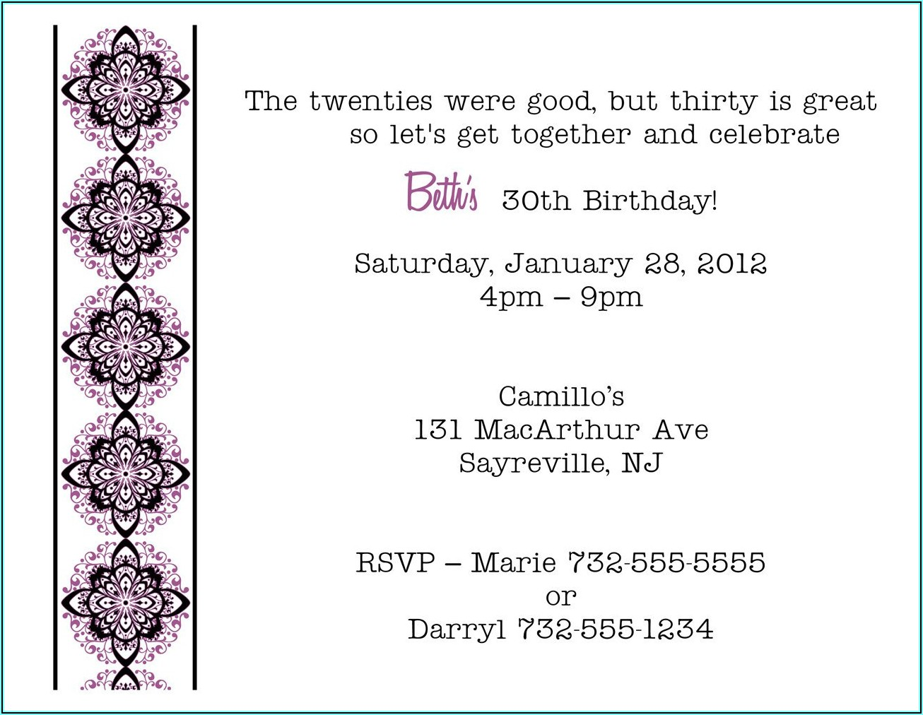 Birthday Invitations For Adults Wording