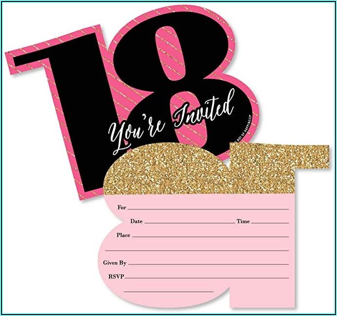 Black And Rose Gold 18th Birthday Invitations