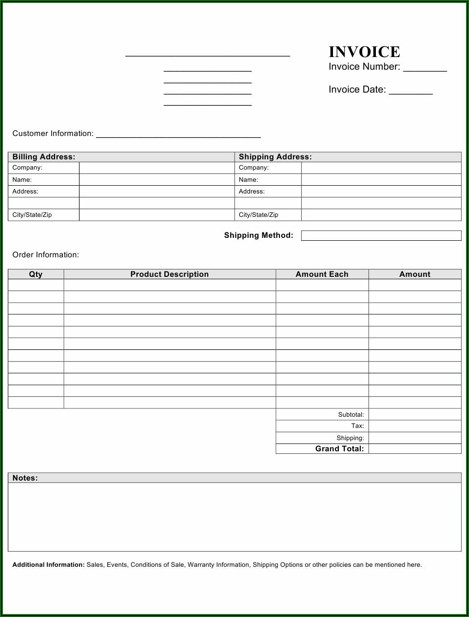 Blank Invoice Fillable Pdf