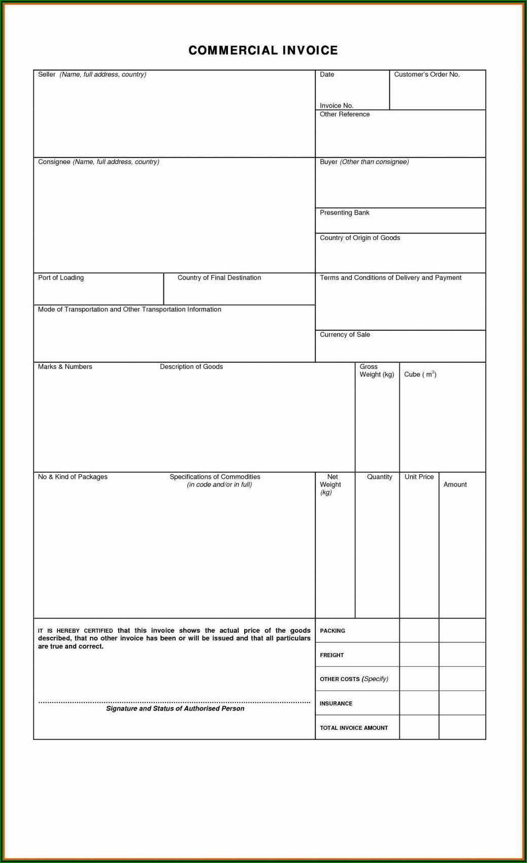 Blank Invoice Template Word Format