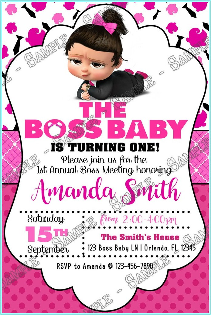 Boss Baby Girl 1st Birthday Invitations
