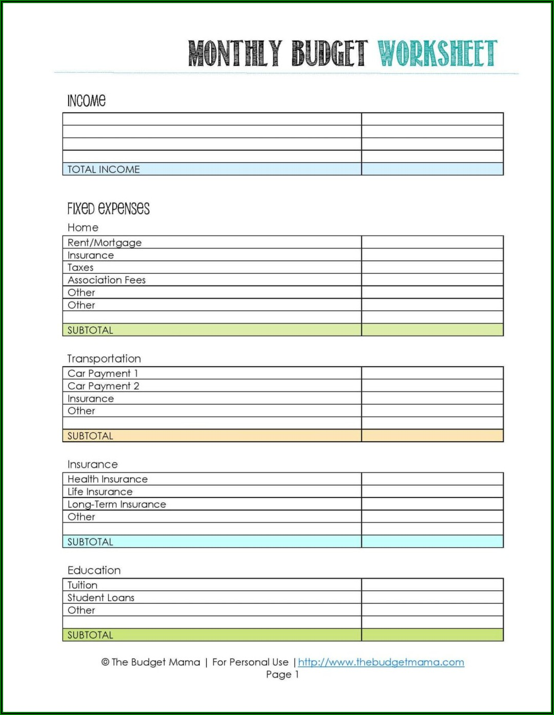 Budget Worksheet For High School Students Pdf