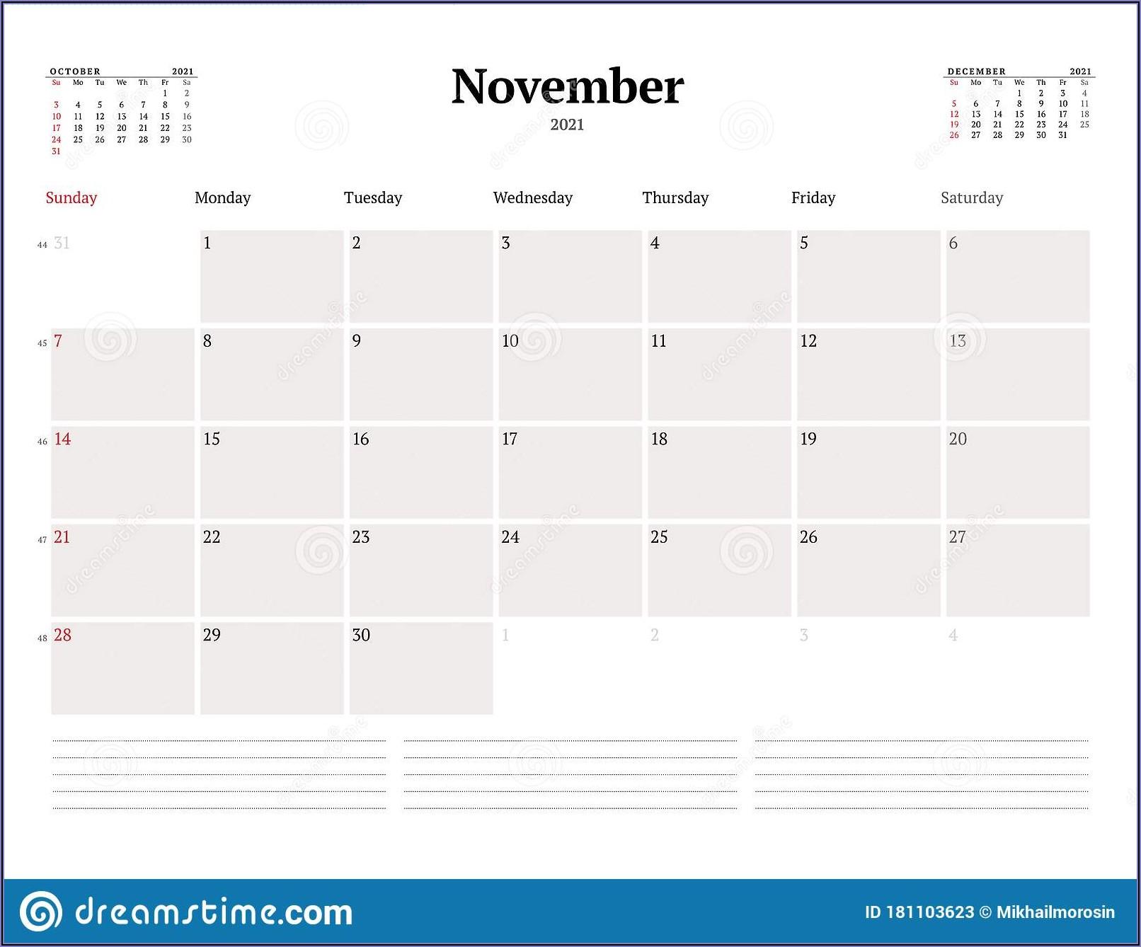 Business Week Calendar Template
