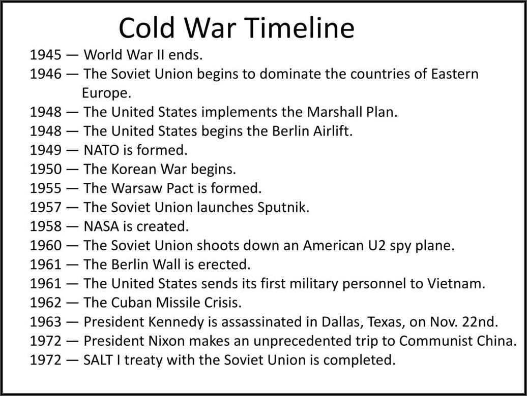 Cold War Timeline Worksheet Pdf