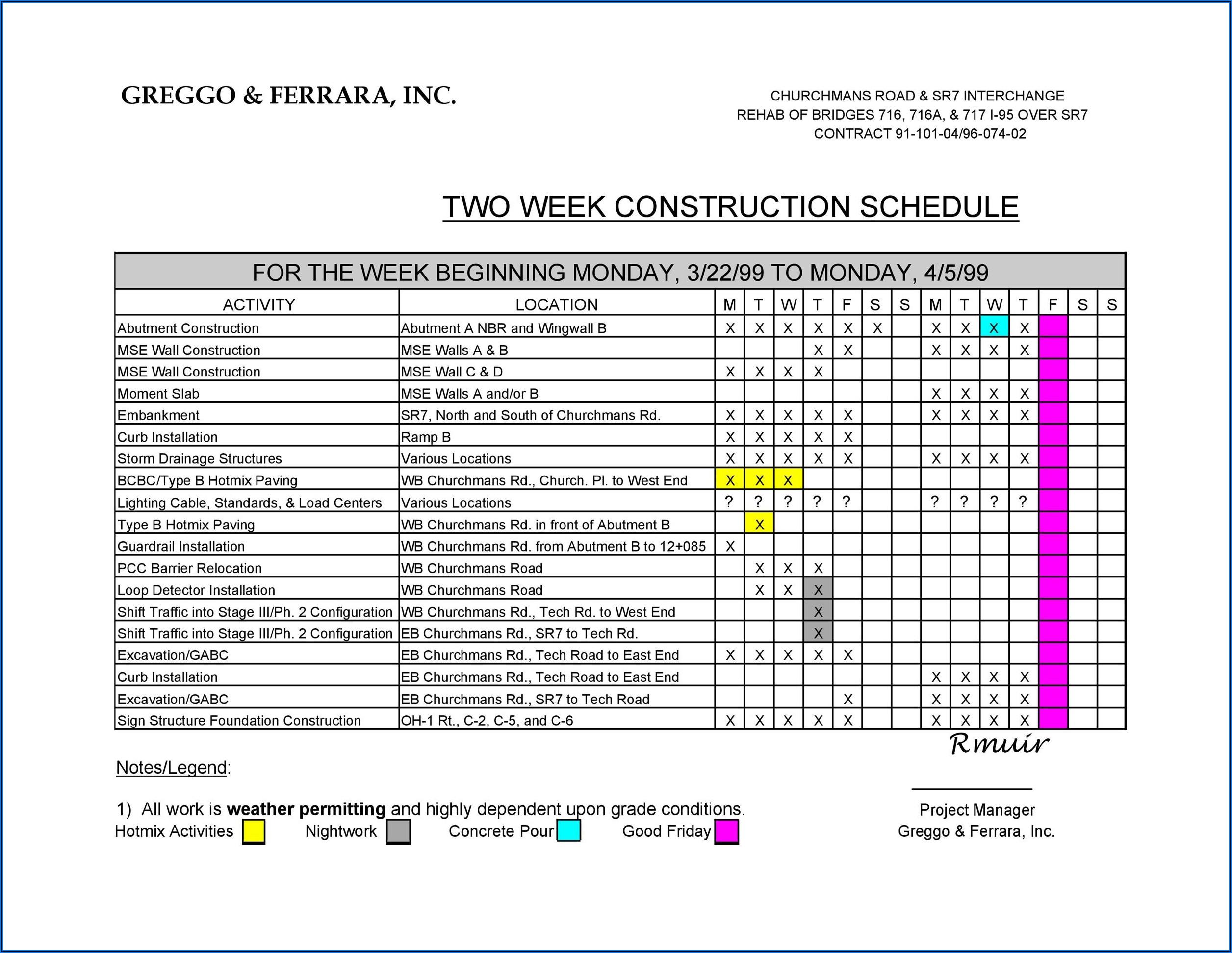 Construction Project Management Plan Template