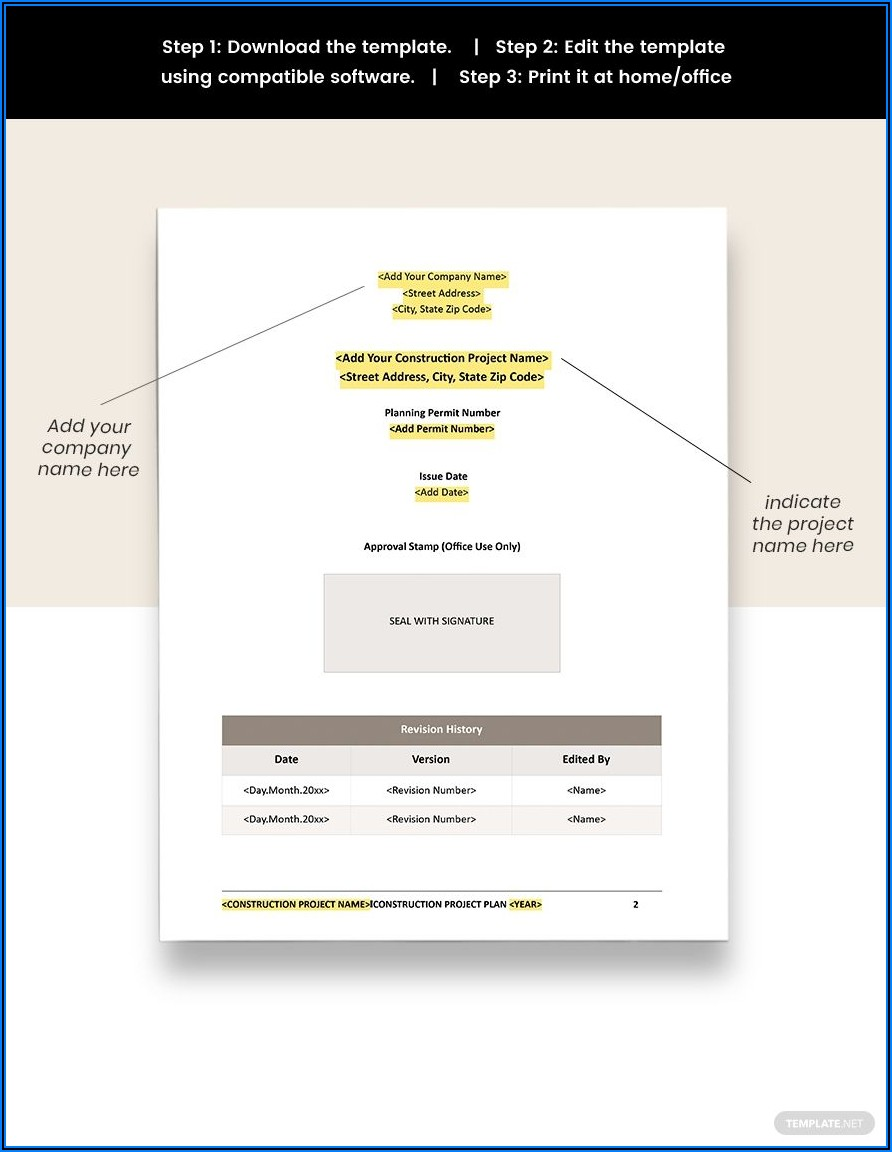 Construction Project Plan Template Word