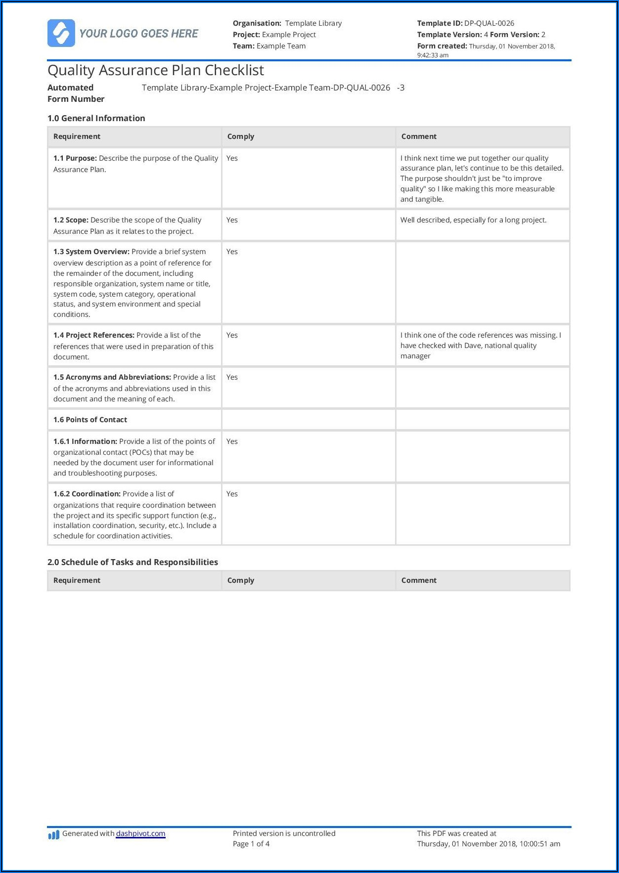 Construction Project Quality Plan Template