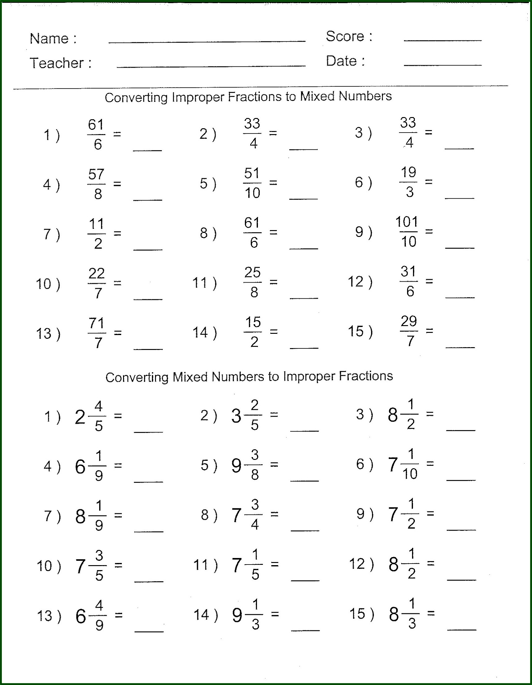 Converting Fractions To Mixed Numbers Worksheet Pdf