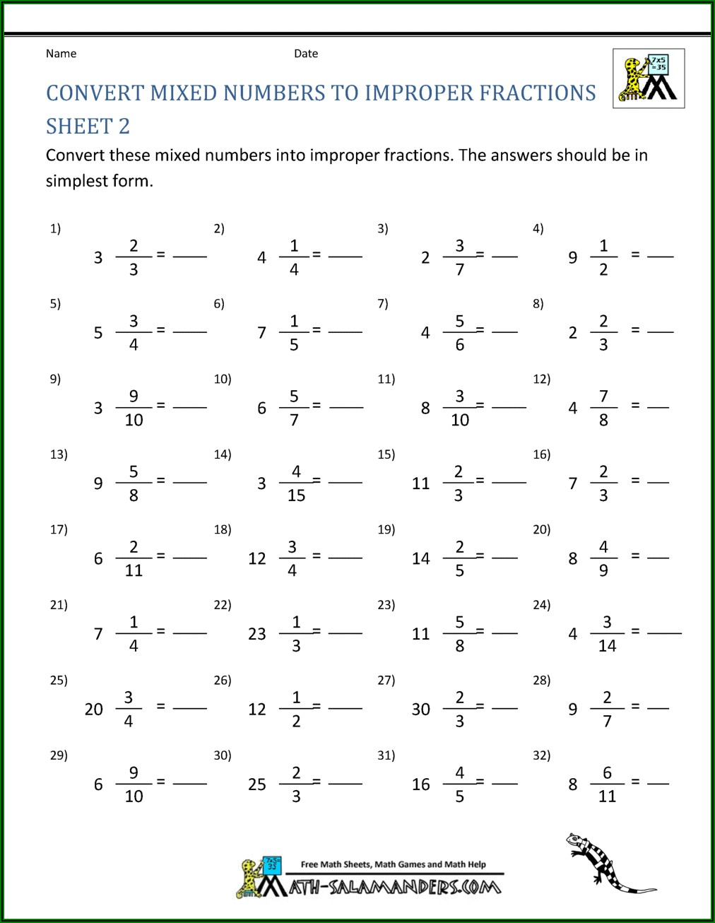 Converting Mixed Numbers To Improper Fractions Worksheet Year 4