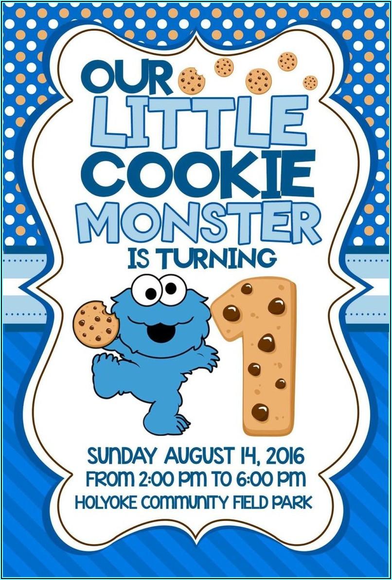 Cookie Monster 2nd Birthday Invitations