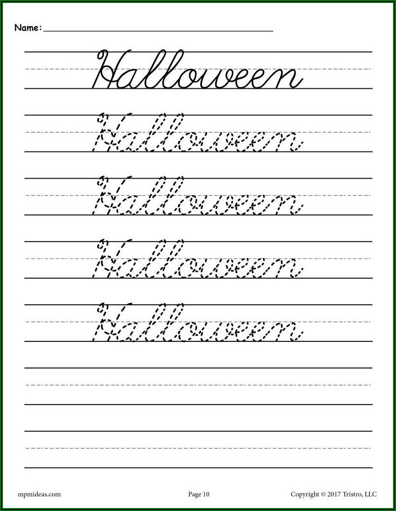 Cursive Writing Worksheets For Kindergarten