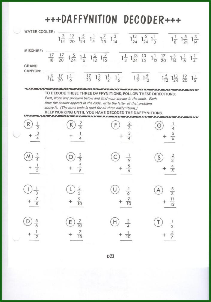 Daffynition Decoder Math Worksheet