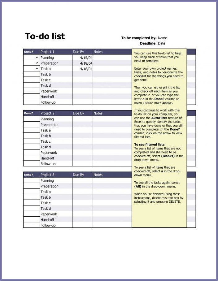 Daily Task List Template Word
