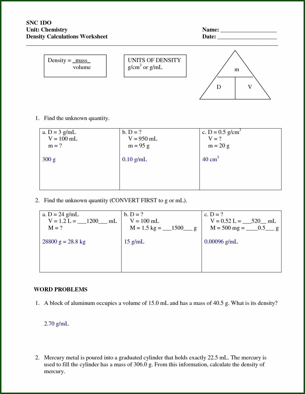 Density Calculations Worksheet 1 Answer Key