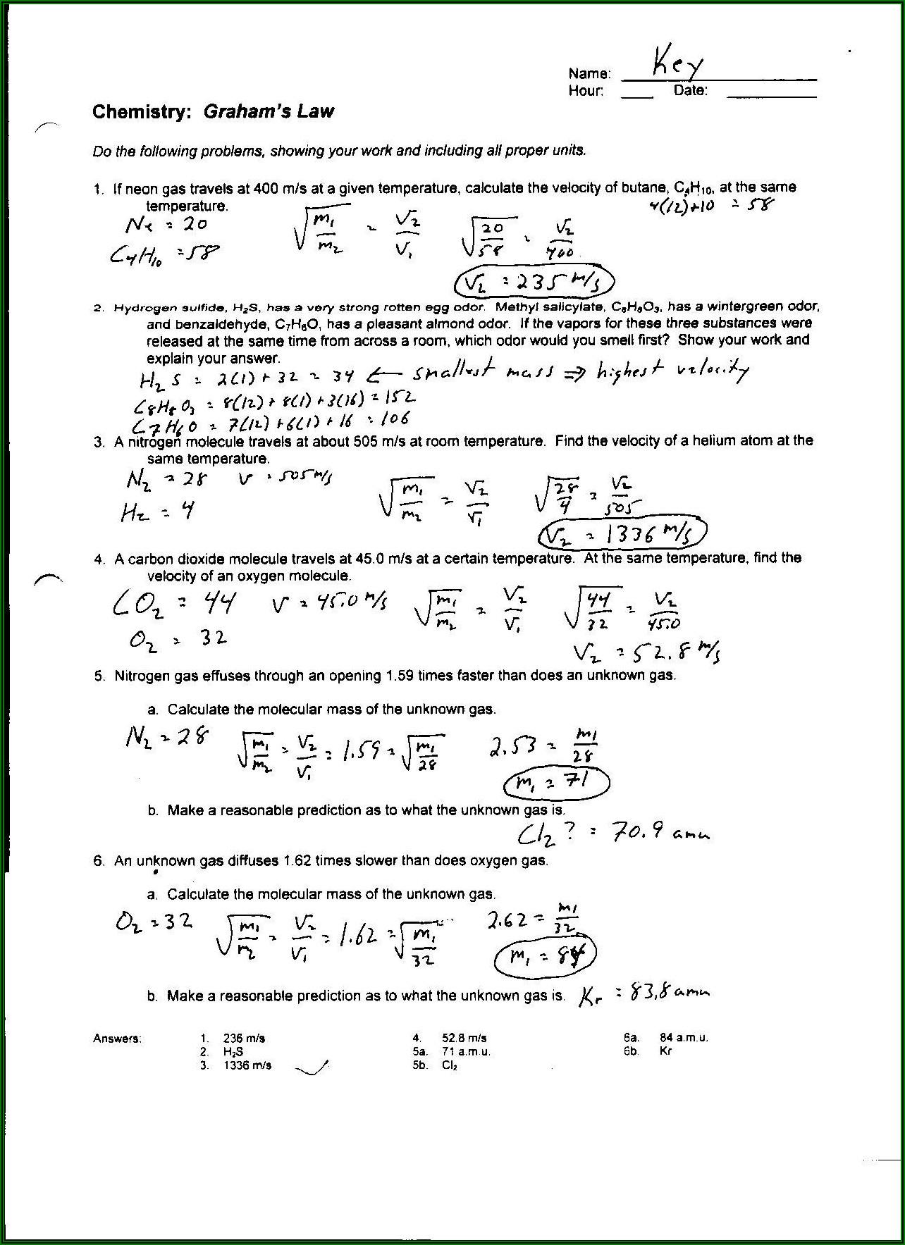 Density Chemistry Worksheet 1 4 Answer Key
