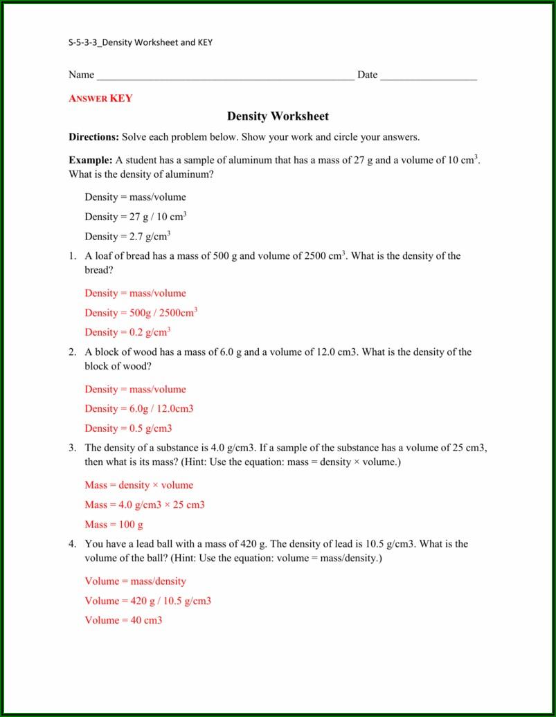 Density Worksheet 1 Answer Key Pdf