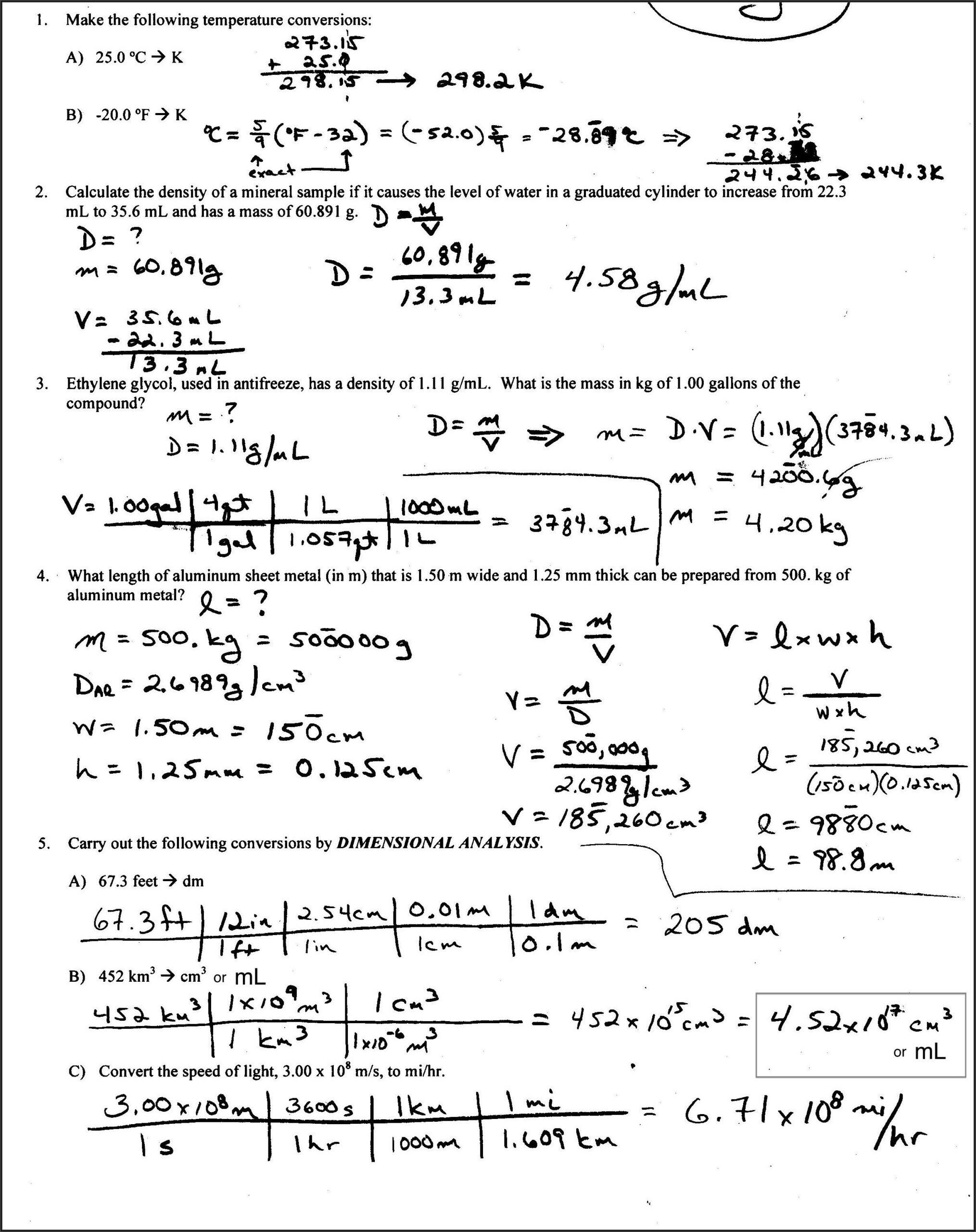 Density Worksheet Answer Key 8th Grade