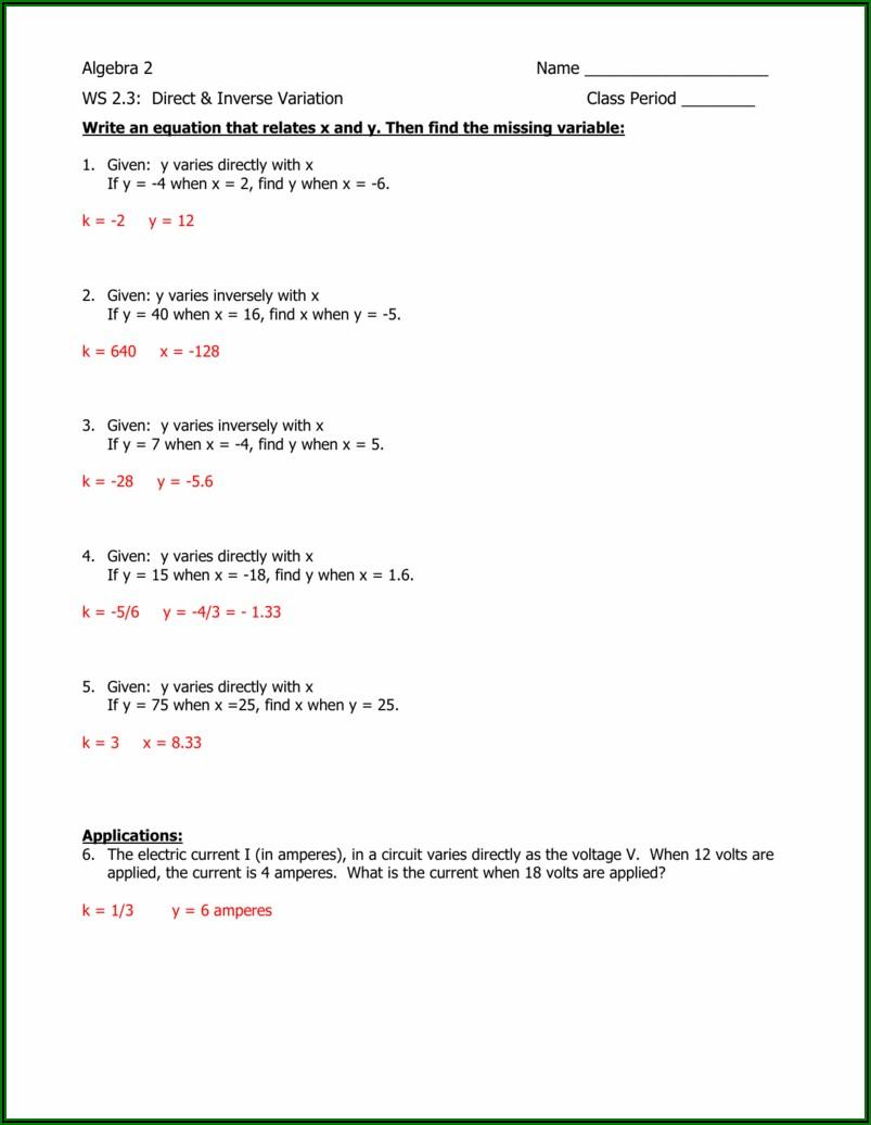 Direct Variation Word Problems Worksheet Pdf