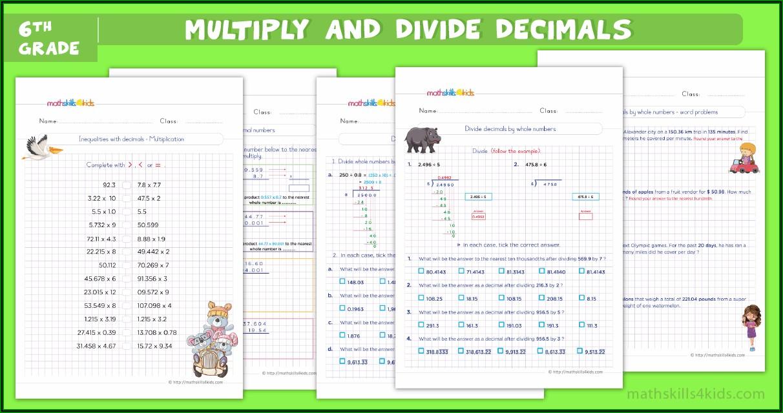 Dividing Decimals By 2 Digit Whole Numbers Worksheet Pdf