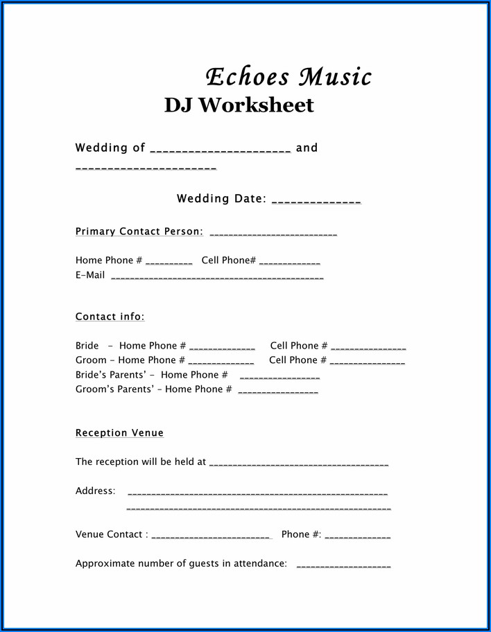 Dj Wedding Reception Timeline Template