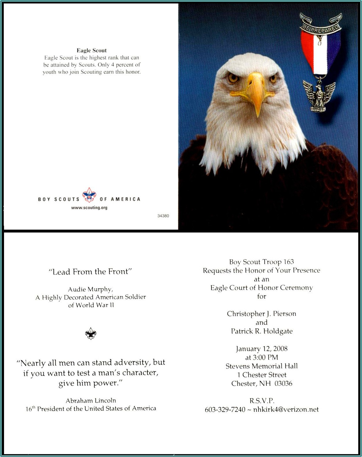 Eagle Scout Court Of Honor Invitation Letter