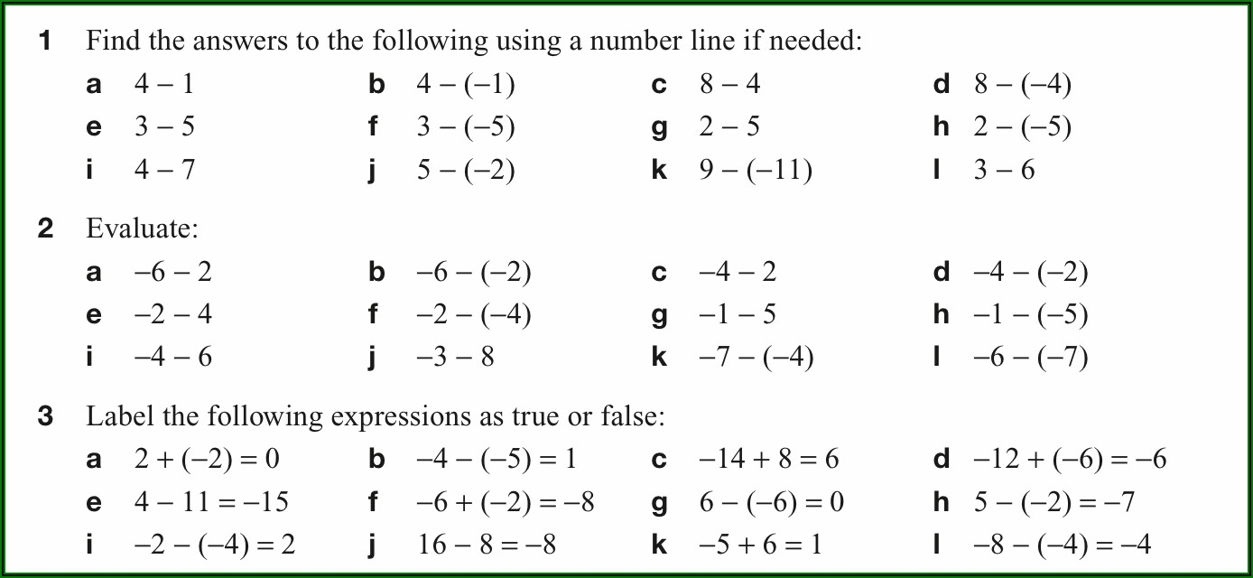 Easy Adding Subtracting Negative Numbers Worksheets