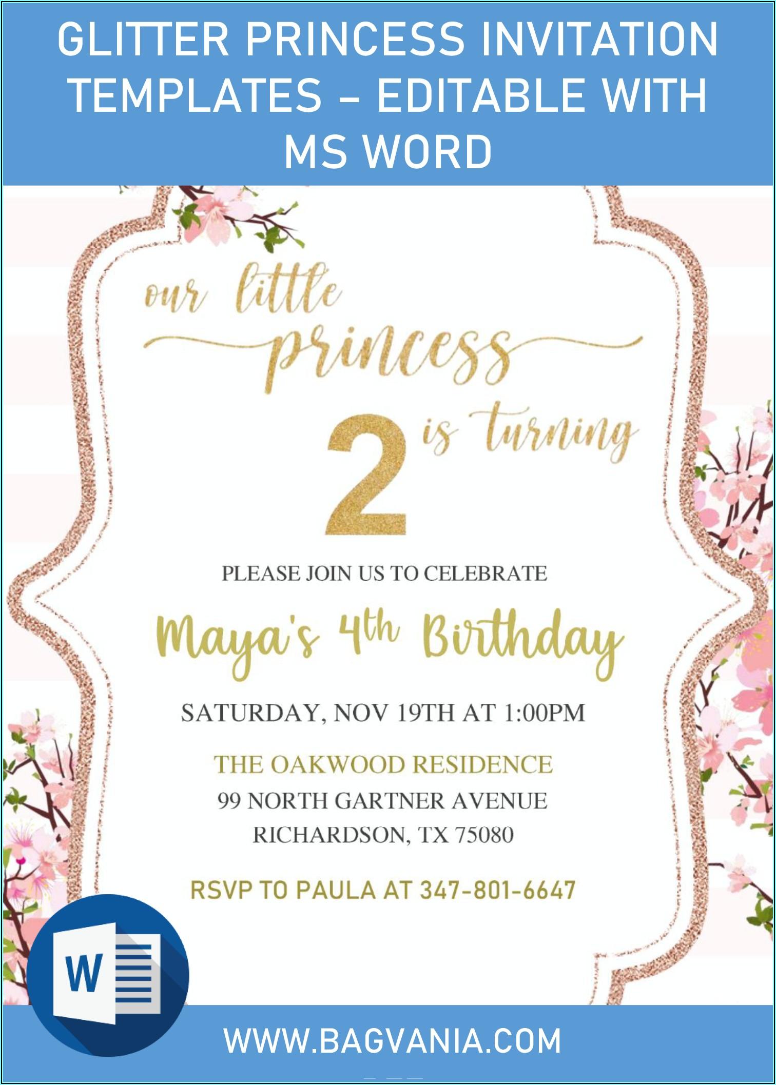 Editable Birthday Invitations Templates Free Princess