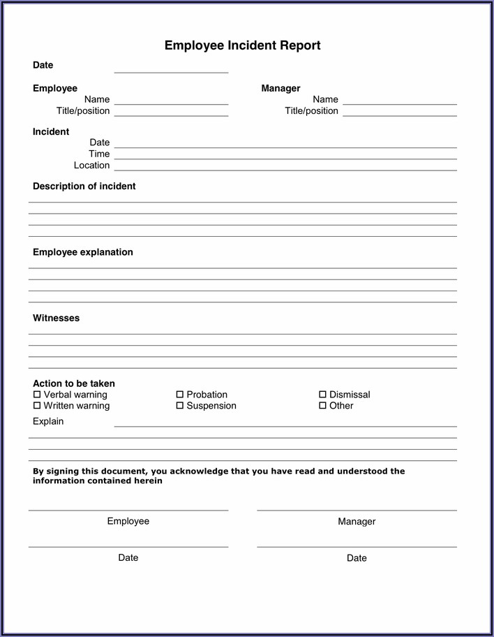 Employee Accident Report Form Word