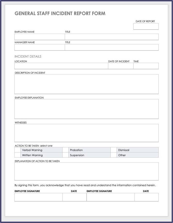 Employee Incident Report Format