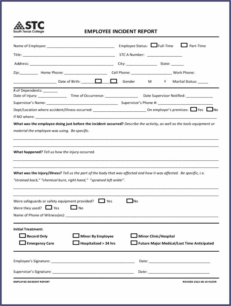 Employee Incident Report Template Doc