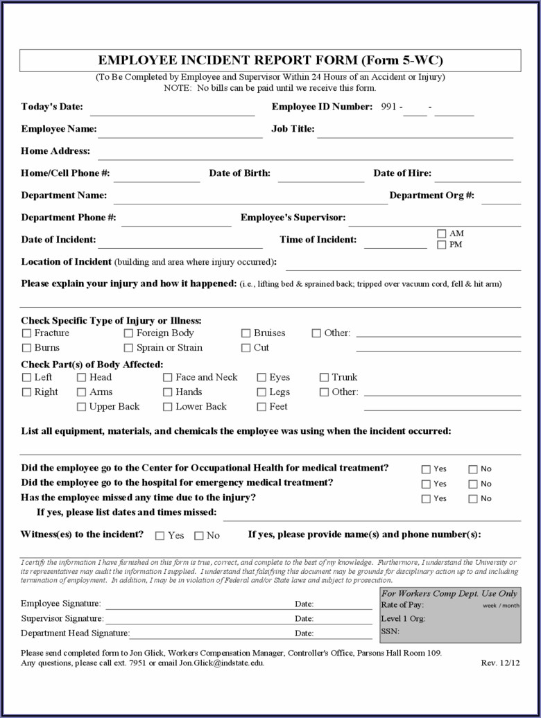 Employee Incident Report Template Excel