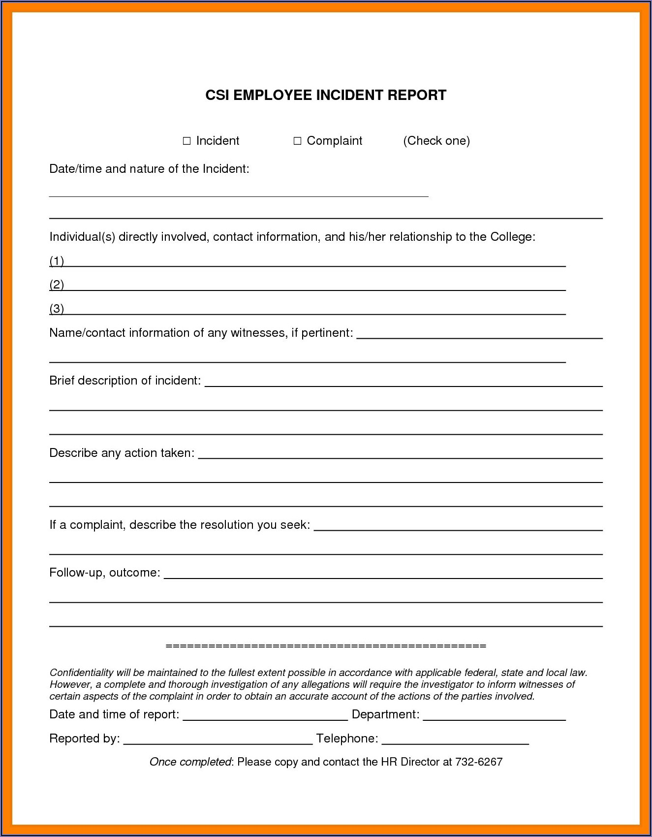 Employee Incident Report Template Free
