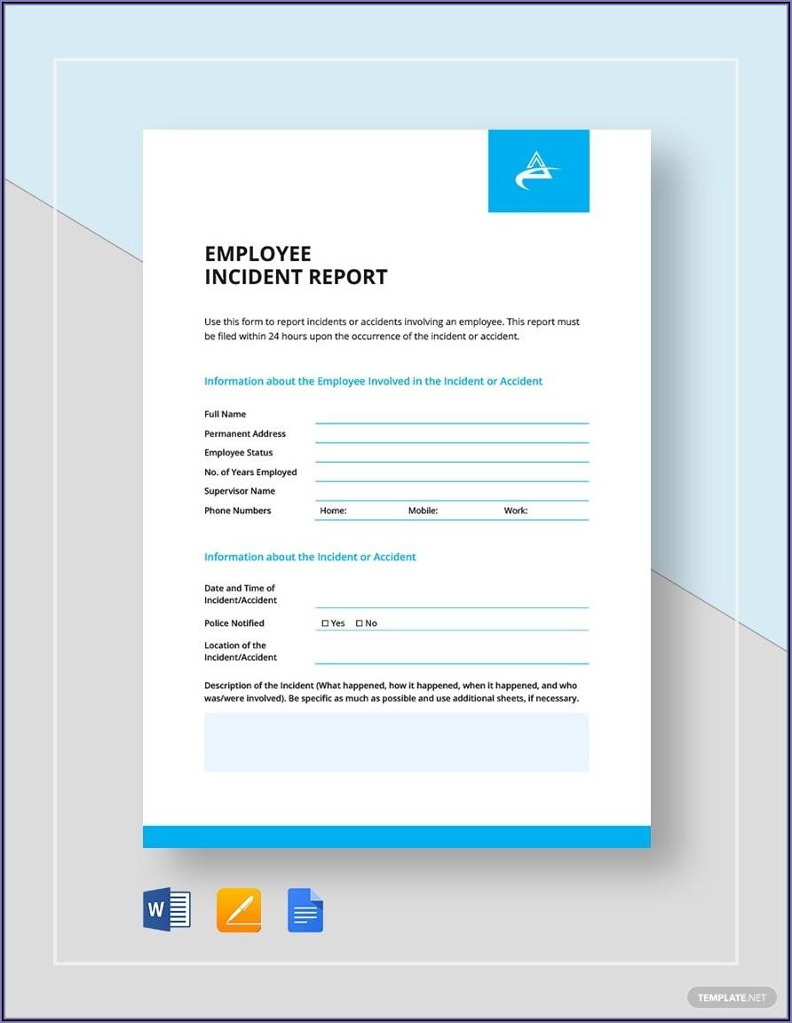 Employee Incident Report Template Word
