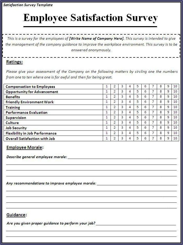 Employee Satisfaction Survey Questionnaire Sample
