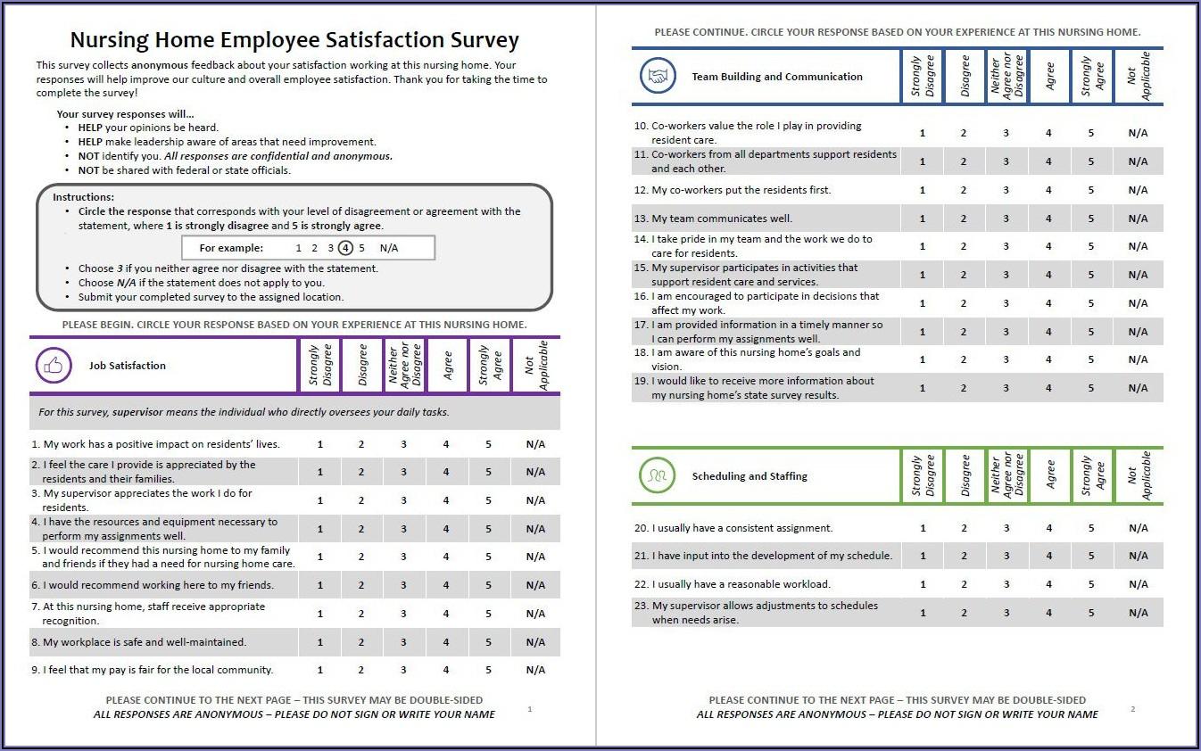 Employee Satisfaction Survey Questionnaire Templates