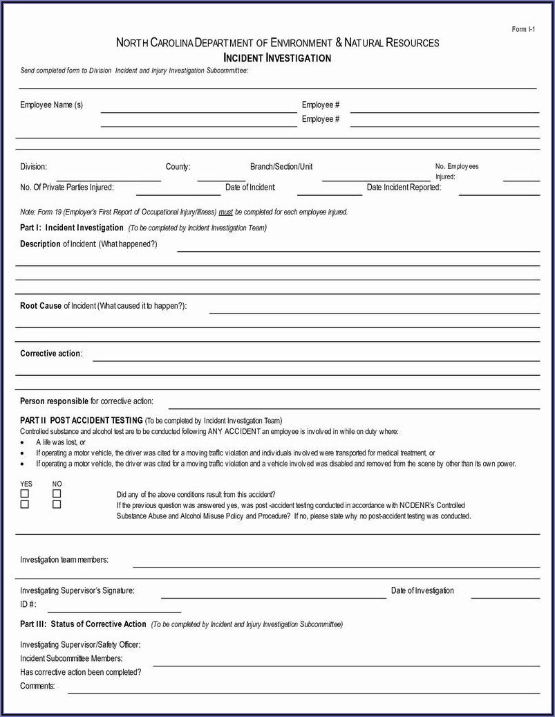 Employee Vehicle Accident Report Form