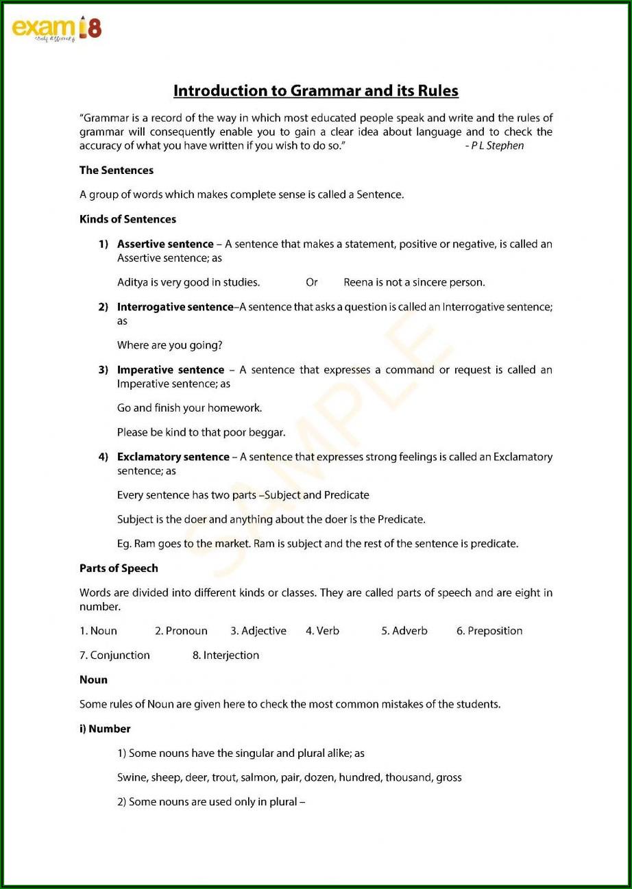 English Grammar Worksheets For Class 10 Pdf