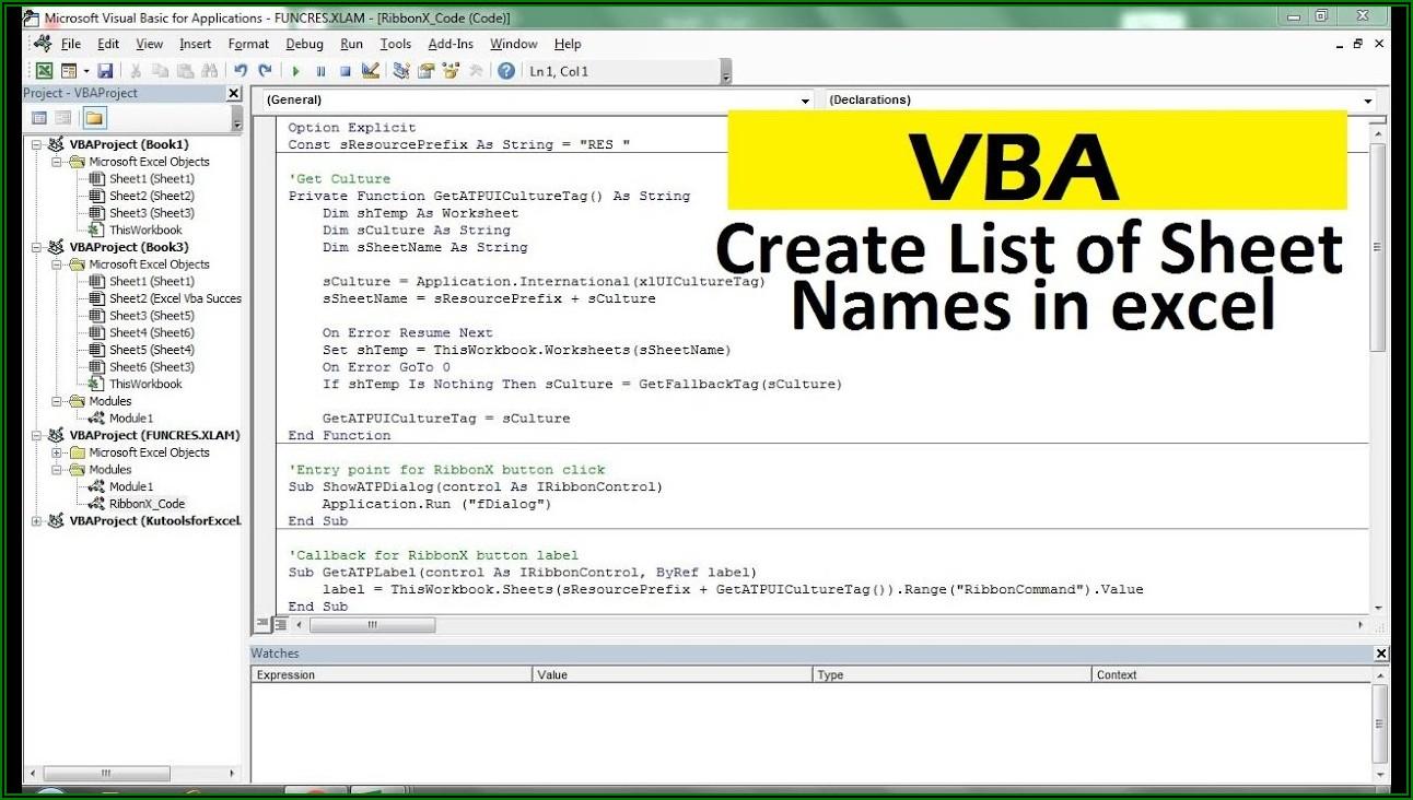 Excel Vba List Worksheet Names