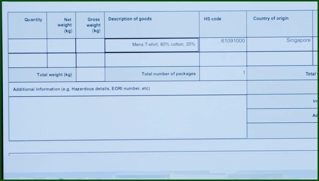 Fedex Commercial Invoice Example