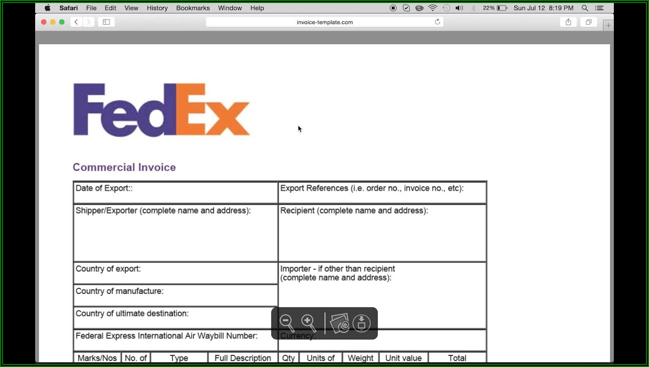 Fedex Commercial Invoice Fillable Form