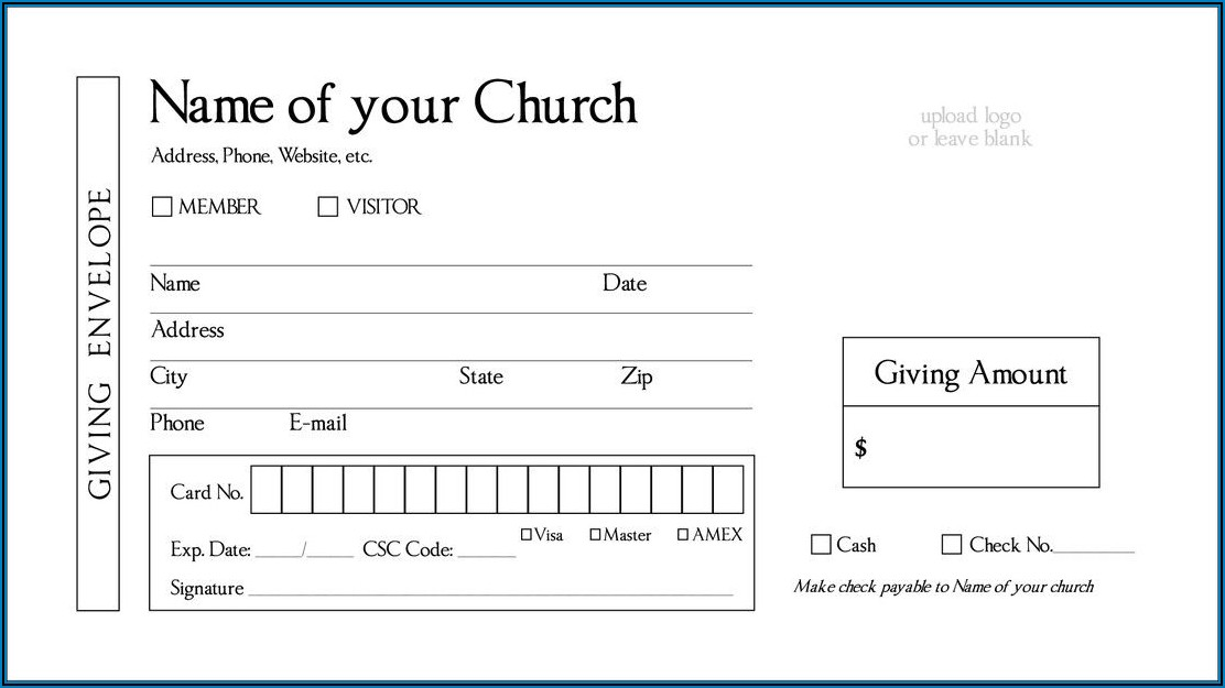 Free Church Tithes And Offering Envelopes Templates