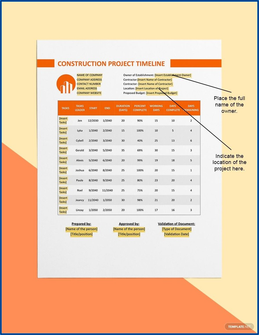 Free Construction Project Timeline Template