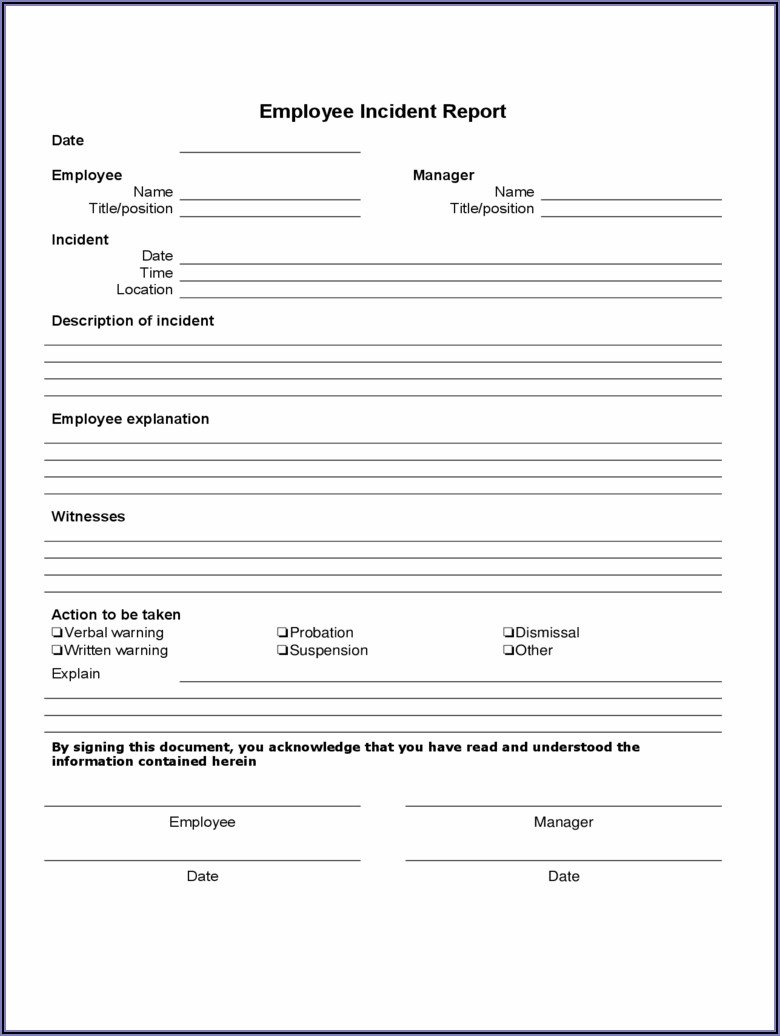 Free Employee Accident Report Form