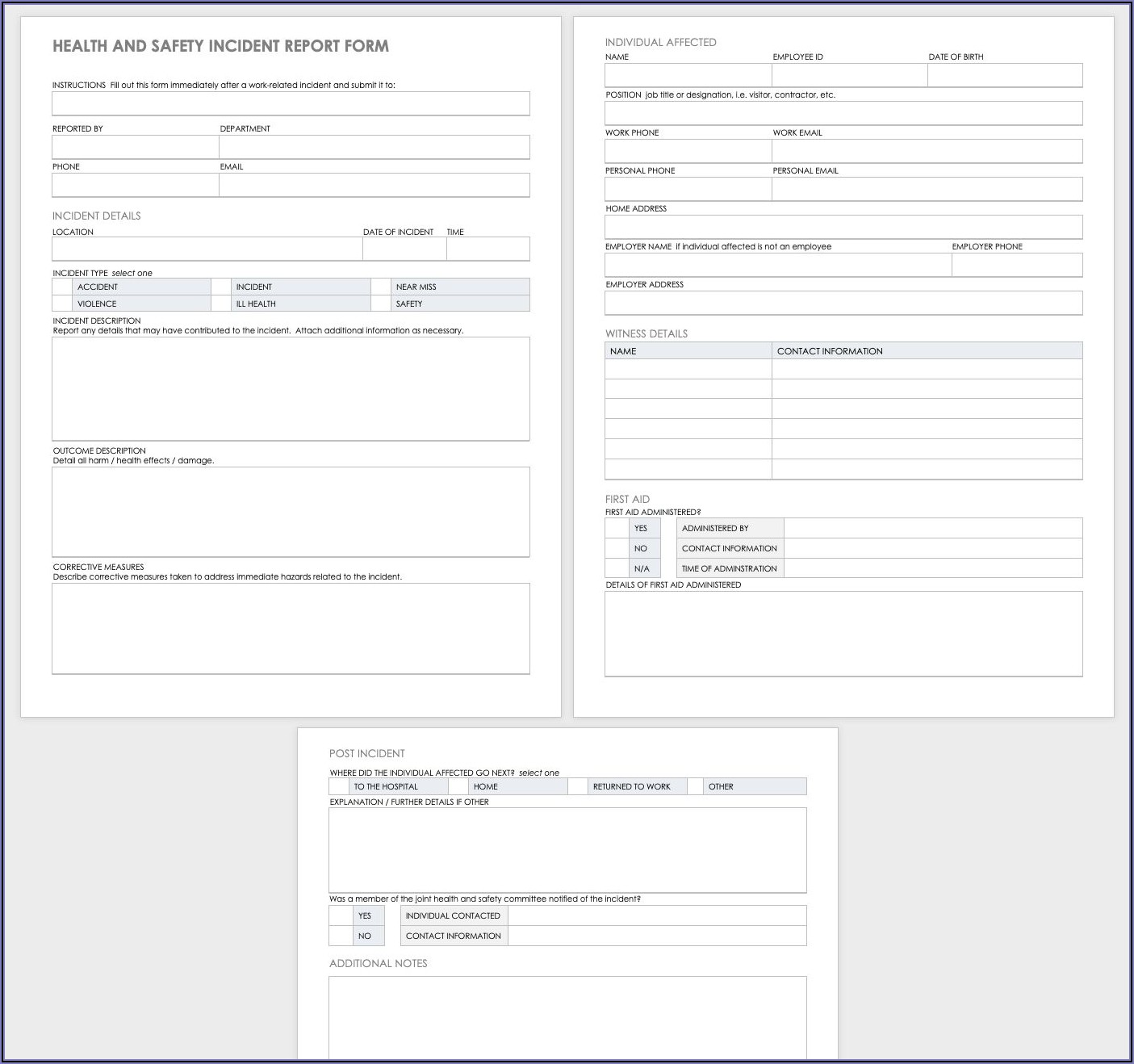 Free Employee Accident Report Template