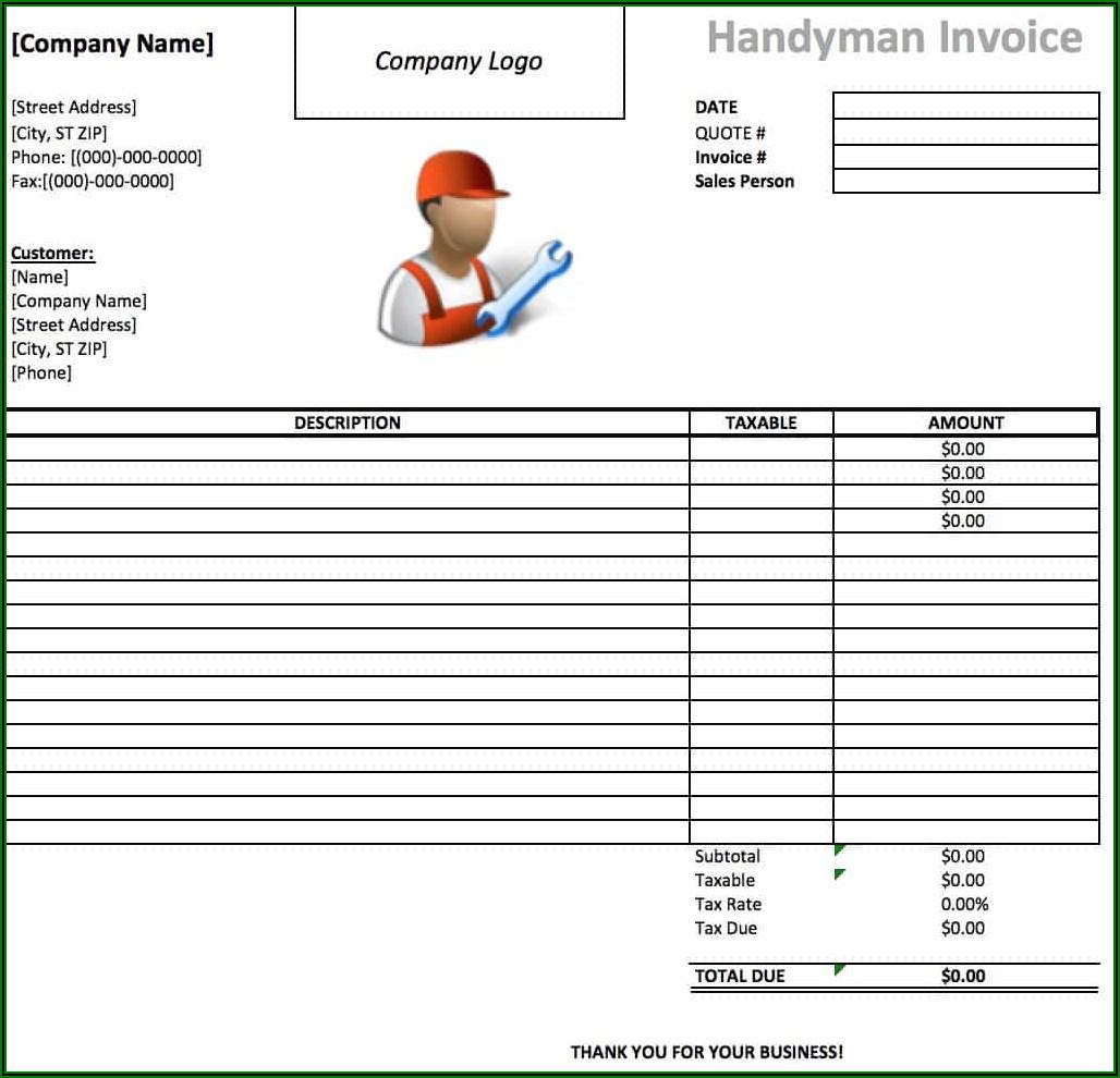 Free Handyman Invoice Template