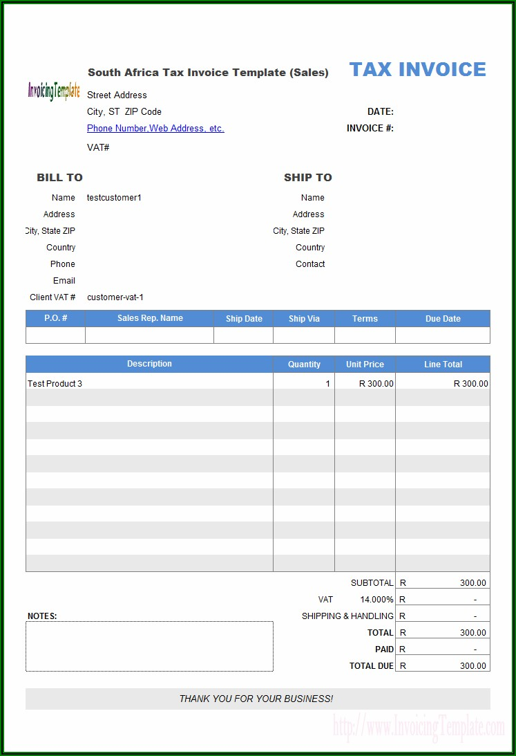 Free Invoice Template Word South Africa