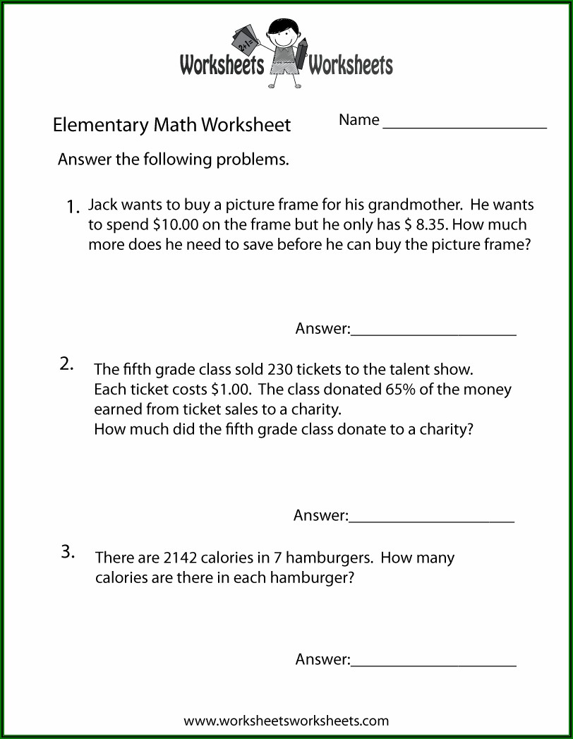 Free Math Word Problem Worksheets For High School